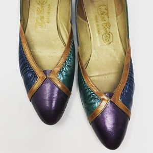Vintage 80's rocker leather one inch block heel